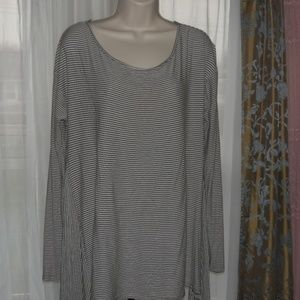 Mossimo Grey and White Striped Fit and Flare Tee L
